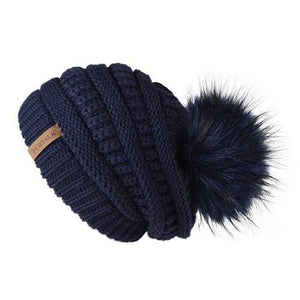 Her Shop Hats navy Pompom Slouchy Beanie Hat with Velvet