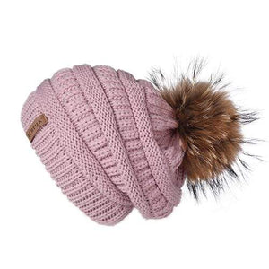 Her Shop Hats Pink Pompom Slouchy Beanie Hat with Velvet