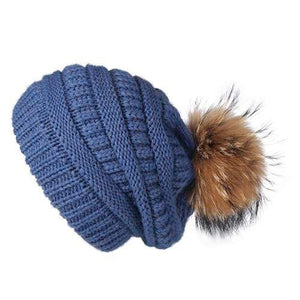 Her Shop Hats Blue Pompom Slouchy Beanie Hat with Velvet