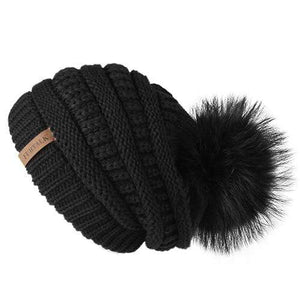 Her Shop Hats Black 2 Pompom Slouchy Beanie Hat with Velvet