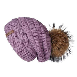 Her Shop Hats Lavender Pompom Slouchy Beanie Hat with Velvet
