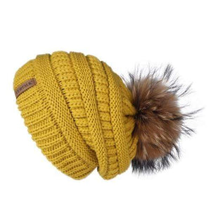 Her Shop Hats Yellow Pompom Slouchy Beanie Hat with Velvet