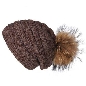 Her Shop Hats Brown Pompom Slouchy Beanie Hat with Velvet