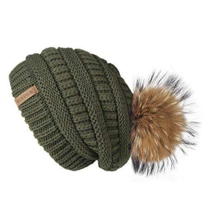 Her Shop Hats green 3 Pompom Slouchy Beanie Hat with Velvet
