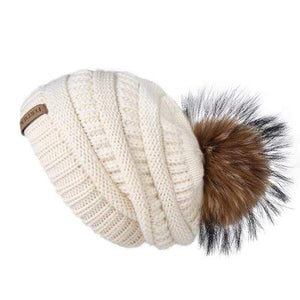 Her Shop Hats Beige Pompom Slouchy Beanie Hat with Velvet