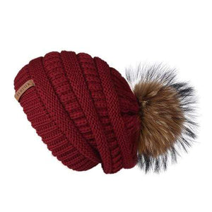 Her Shop Hats Burgundy Pompom Slouchy Beanie Hat with Velvet