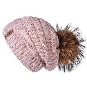 Her Shop Hats mixed pink Pompom Slouchy Beanie Hat with Velvet