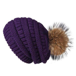 Her Shop Hats Purple Pompom Slouchy Beanie Hat with Velvet