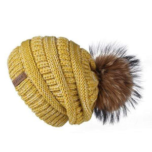 Her Shop Hats mixed yellow Pompom Slouchy Beanie Hat with Velvet