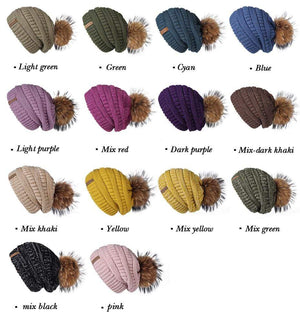 Her Shop Hats Pompom Slouchy Beanie Hat with Velvet