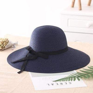 Her Shop Hats Navy blue Summer Wide Brim Beach Hat