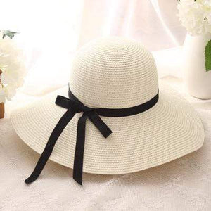Her Shop Hats Milk white Summer Wide Brim Beach Hat
