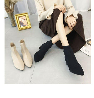 Her Shop Heels Women's Pointed Toe Yarn Elastic Ankle Boots