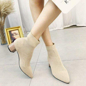 Her Shop Heels khaki / 35 Women's Pointed Toe Yarn Elastic Ankle Boots