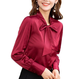 Her Shop High-quality Elegant Smooth and Soft Bow Shirt