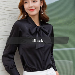 Her Shop Black / XXL High-quality Elegant Smooth and Soft Bow Shirt