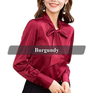 Her Shop Burgundy / XXL High-quality Elegant Smooth and Soft Bow Shirt