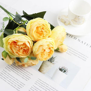 Her Shop Home Decoration yellow 1 bundle Silk Peony bouquet