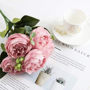 Her Shop Home Decoration pink 1 bundle Silk Peony bouquet