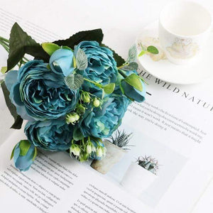 Her Shop Home Decoration blue 1 bundle Silk Peony bouquet