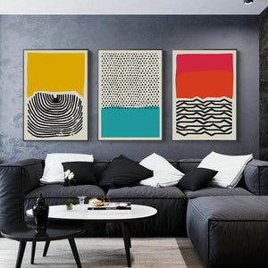 Her Shop Home Decoration Modern Multicolored Abstract Geometric Wall Art Canvas