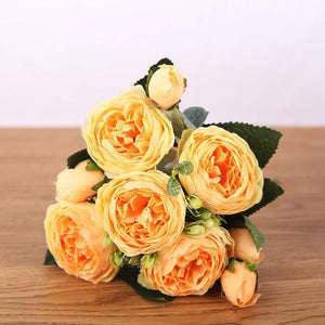 Her Shop Home Decoration yellow Pink Silk Bouquet Peony
