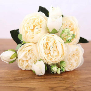 Her Shop Home Decoration white Pink Silk Bouquet Peony