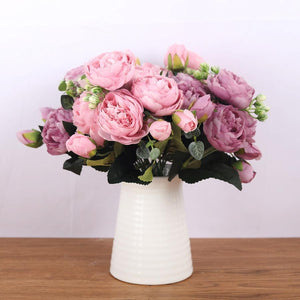 Her Shop Home Decoration Pink Silk Bouquet Peony