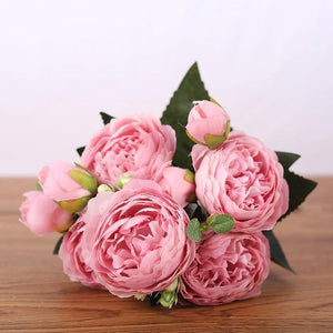 Her Shop Home Decoration pink Pink Silk Bouquet Peony