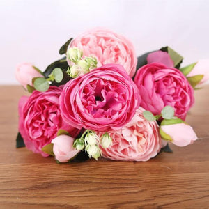 Her Shop Home Decoration pink rose Pink Silk Bouquet Peony