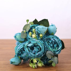 Her Shop Home Decoration blue Pink Silk Bouquet Peony