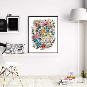 Her Shop Home Decoration Watercolor Flowers Botanical Poster Print