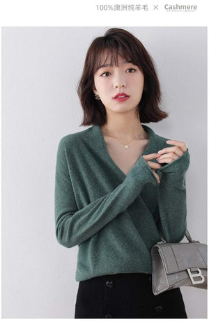 Her Shop Hot Sale 100% Pure Wool Knitted Sweater Women V-neck Long Sleeve Standard Cashmere Knitwear Winter New Fashion Female Jumpers