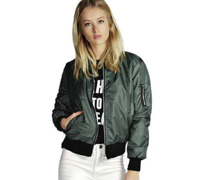 Her Shop jacket Green / S Spring  Basic Jackets Bomber