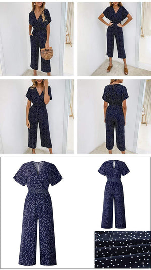 Her Shop Jumpsuits & Rompers Summer Casual Print V-neck Romper