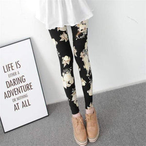 Her Shop Leggings Big black flower / One Size New Fashion Camouflage Printing Elasticity Leggings