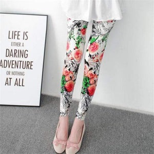 Her Shop Leggings Red flowers / One Size New Fashion Camouflage Printing Elasticity Leggings
