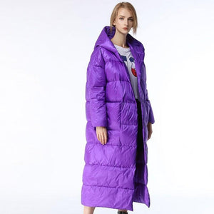 Her Shop Long Knee Purple Down Jacket Fashion Hooded Parka 2018