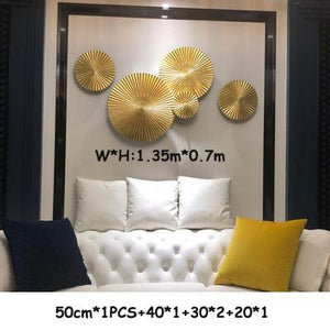 Her Shop style6--5PCS Luxury Restaurant Wall Gold Solid Wood Decoration Murals Ornaments Crafts Home Porch 3D Stereo Wall Sofa Background Accessories