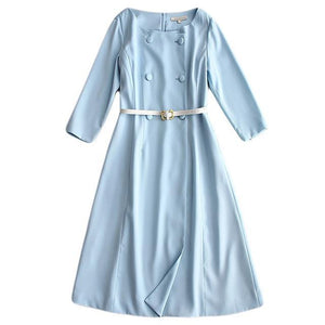 Her Shop Sky Blue / S Milan Runway Designer High Quality Elegant Chic Dress