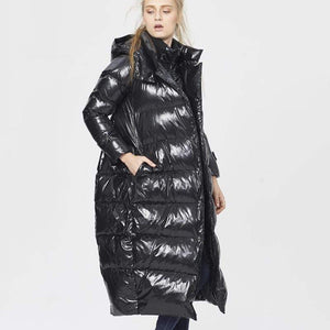 Her Shop New Fashion Fake Two Piece Hooded White Duck Feather Coat Female