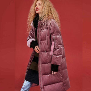 Her Shop New Long Paragraph Over The Knee Thickening Loose Thin Feather Coat Female