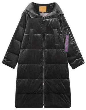 Her Shop Dark Grey / S New Long Paragraph Over The Knee Thickening Loose Thin Feather Coat Female