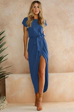 Her Shop Blue / L / China New Sexy Women O-neck Short Sleeve Dresses Tunic Summer Beach Sun Casual Femme Vestidos Lady Clothing Dress