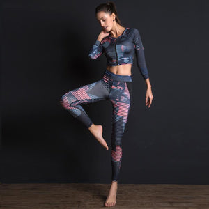 Her Shop New Sport Suit Print Fitness Suit Leggings Breathable Yoga Set 2 Piece Zipper Sportswear T-shirt Sport Pants Tracksuit For Women