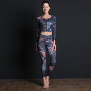 Her Shop Sport Set / L New Sport Suit Print Fitness Suit Leggings Breathable Yoga Set 2 Piece Zipper Sportswear T-shirt Sport Pants Tracksuit For Women