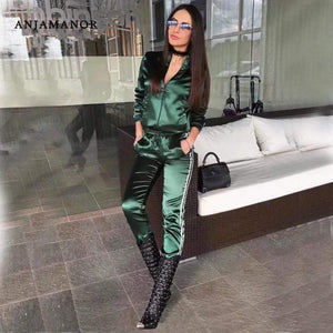Her Shop outfit Satin Two Piece Set Tracksuit
