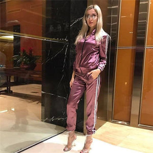 Her Shop outfit Purple / S Satin Two Piece Set Tracksuit