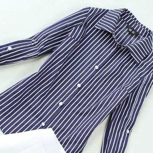 Her Shop Outfits Blue Striped Classic Long-Sleeved Shirt + White High-Waist Wide Legged Pants