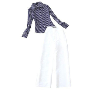 Her Shop Outfits 1 / S Blue Striped Classic Long-Sleeved Shirt + White High-Waist Wide Legged Pants